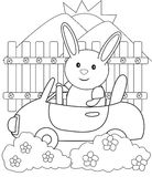 Bunny driving a car coloring page Royalty Free Stock Photos