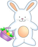 BUNNY WITH EASTER BASKET Royalty Free Stock Image