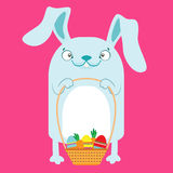 Bunny with Easter baskets with eggs. Royalty Free Stock Photography