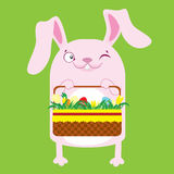 Bunny with Easter baskets with eggs. Stock Image