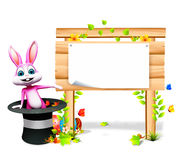 Bunny  Easter bunny inside cap & eggs Stock Images