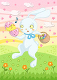 Bunny Easter Card. Colorful and joyful Easter greetings illustration with a cute jumping rabbit surprised by the birth of a singing yellow chick from one of his Royalty Free Stock Image