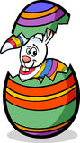 Bunny in easter egg cartoon illustration Stock Image
