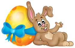 Bunny with Easter egg theme image 1 Stock Photos