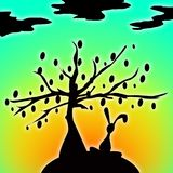 Bunny with Easter Egg Tree. Original computer illustration of a silhouetted bunny next to an easter egg tree Stock Image