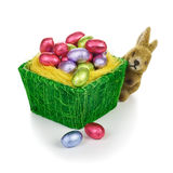 Bunny and Easter eggs Stock Photography