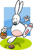 Bunny and easter eggs cartoon illustration Royalty Free Stock Images
