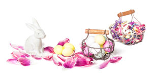 Bunny, Easter Eggs, petals Stock Image