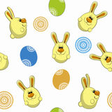 Bunny and Easter eggs seamless pattern Stock Images