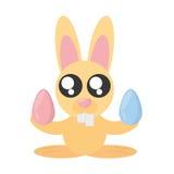 Bunny With Easter Eggs sveglio Fotografia Stock Libera da Diritti