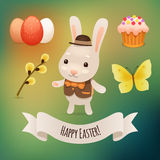 Bunny and Easter Symbols Stock Photo