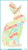 Bunny in Eastern Holiday Celebration Word Cloud Stock Photos