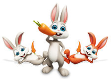 Bunny eating a carrot. 3d rendered illustration of bunny eating a carrot Stock Image