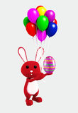 Bunny with egg and balloon. 3d bunny with egg and balloon Stock Photo
