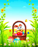Bunny with egg bucket Royalty Free Stock Images