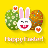 Bunny with eggs. Easter greeting card. Royalty Free Stock Images