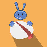 Bunny with eggs flat vector easter card. Template Royalty Free Stock Photography