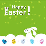 Bunny and eggs. Happy Easter with bunny and eggs Stock Photography
