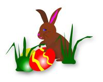 Bunny Eggs3. Colorful and cute Easter Bunny finding eggs in the grass. Jpeg image has work path Royalty Free Stock Image