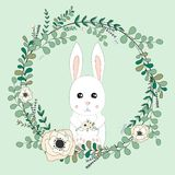 2018 02 23_bunny_eucalyptus royaltyfri illustrationer