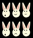 Bunny faces isolated. Happy sad and shocked rabbit faces royalty free illustration
