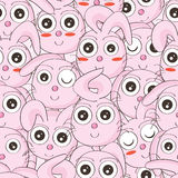 Bunny Faces Seamless Pattern Arkivbild