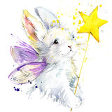Bunny fairy T-shirt graphics. bunny fairy illustration with splash watercolor textured background. unusual illustration watercolor stock illustration
