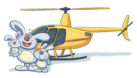 Bunny Family with Helicopter Royalty Free Stock Photography