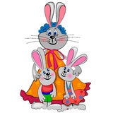 Bunny family  illustration.isolated Royalty Free Stock Photo