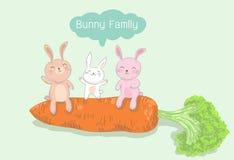 Bunny family sitting on big carrot, rabbit vector illustration Royalty Free Stock Photos