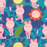 Bunny fat butterfly friend seamless pattern Stock Photography