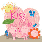 Bunny fat kiss me cute Stock Image