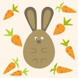 Bunny Flat Stylized Egg Shaped étrange avec des carottes Illustration de Vecteur