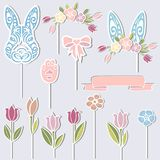 Bunny, floral wreath, bunny ears, flowers as cake toppers. Vector set for Baby birthay. Bunny, floral wreath, bunny ears, flowers as cake toppers or stickers Royalty Free Stock Photography