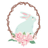 Bunny with Flower Bouquet on Branch Wreath Royalty Free Stock Photo