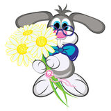 Bunny with flowers Stock Photo