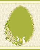 Bunny and flowers. Beautiful easter card with bunny and flowers on lace background Royalty Free Stock Photos