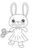 Bunny with flowers coloring page Stock Image