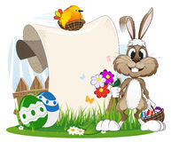 Bunny with flowers and Easter eggs. Cartoon  bunny with flowers and Easter eggs on a spring meadow Royalty Free Stock Image