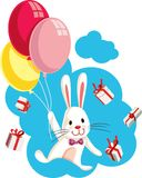 Bunny Flying con los globos rodeados por los regalos ilustración del vector