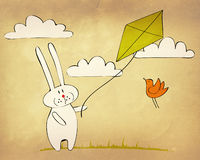 Bunny flying a kite. Greeting card with funny bunny flying a kite Stock Images