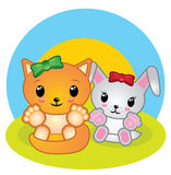 Bunny and fox animal cartoon. Illustration for children Stock Images