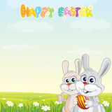 Bunny Friends. Happy Easter  card with cute cartoon Rabbits on sunny spring meadow Stock Photo