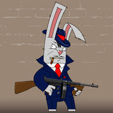 Bunny gangster. Illustration gangster rabbit in a blue suit, with Thompson gun Stock Photo