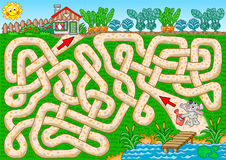 Bunny garden. Help bunny to find a path to his garden, so he can water veggies. Labyrinth for kids stock illustration