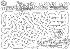 Bunny garden. Help bunny to find a path to his garden, so he can water veggies. Labyrinth for kids vector illustration