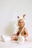 Bunny girl. Baby girl in bunny glothes Royalty Free Stock Photos