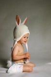 Bunny girl. Baby girl in bunny glothes Stock Photo