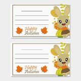 Bunny girl with Autumn elements vector cartoon illustration for Autumn greeting card design stock image
