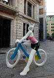 Bunny girl on the bike Royalty Free Stock Photo